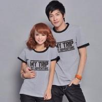 Promo Cp T Shirt My Trip M CL kaos couple combet abu abu Limited edit