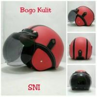 Helm Bogo Retro SNI Kulit Classic Merah Hitam + Kaca Bogo Ori Promo