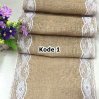 Jual Taplak Meja Table Runner Burlap Lace Vintage Decor Kain Goni Import Murah
