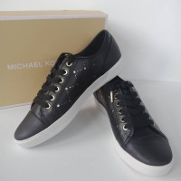 SEPATU MICHAEL KORS ORIGINAL - MK City Sneaker Lasered Leather Black