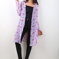Oma Holley Fashion Mauve Cardigan Long Sleeve Flowers 4 Warna-Size M