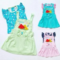 hot Baju Setelan Anak Bayi Cewek Perempuan Kaos Rok Overall Bunga Sem