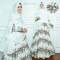 Jual set gamis syari maxmara white baju gamis putih mewah pesta baju syari Murah
