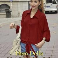 Wanita Atasan Baju [ Hem Della SW] pakaian wanita kemeja warna merah