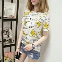 Harga pakaian fashion pesta banana tshirt font atasan wanita blouse 0118 | Pembandingharga.com