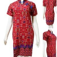 Batik Putri Ayu Solo Dress Batik Merah Imlek D600