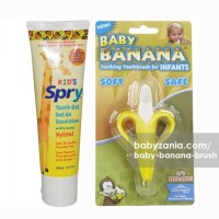 Baby Banana Brush Infant & Kids Spry Natural Toothpaste Stra T2909