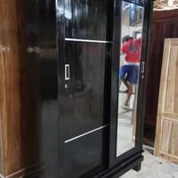 lemari pakaian jati 2 pintu sliding/geser