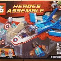 Jual Lego bricks kw Pesawat kapten amerika pilot vs ms marvel merk SY murah Murah