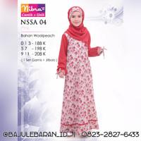 Gamis Anak Nibras NSSA 04 Pink Set Baju Couple Anak Ibu Wolfis Mawar