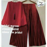 maroon Setelan blouse Atasan + celana kulot panjang