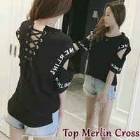 sabrina cross rope blouse hitam putih baju atasan bluss wanita korea