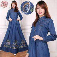 Jual Maxi Dress Jeans Havida Gamis Bordir Murah