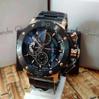 Jam Tangan Alexandre Christie Pria AC 9205 MC Rose Gold Black Origin