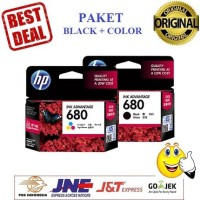 Paket Tinta HP 680 Black dan Color Printer HP Deskjet 2135 3635