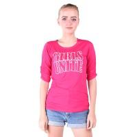 LEMONE Tumblr Tee/Kaos Cewe Premium/Baju Wanita Girls Unite-Merah Muda