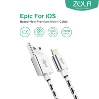 Kabel Data ZOLA EPIC iPhone Lightning Fast Charge 2.1A - Silver