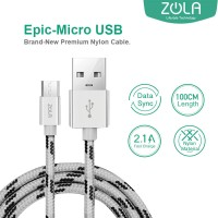 Kabel Data & Charging Mikro USB ZOLA EPIC Fast Charge 2.1A - Silver