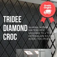 Wallpaper Foam 3D Motif Ketupat Hitam |TRIDEE DIAMOND CROC
