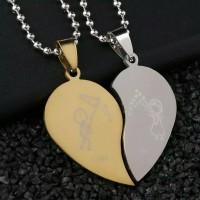 [2 pcs] Kalung Pria & Wanita (Pasangan/Couple) Liontin Hati Gold Perak