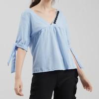 Fashion Wanita baju cewek pakaian wanita blouse biru kerah v list
