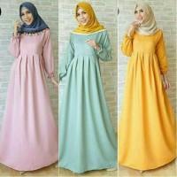 Gamis Syar'i Polos Wanita Azzahra/ Pakaian Wanita Muslim Modern