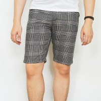 On Trend garis flanel abu tua celana pendek short pants pria lelaki