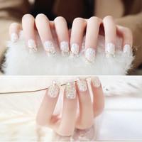 Kuku Palsu 3D / White simple fake nail wedding / nail art