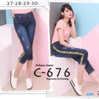 celana jeans C676 supreme kuning/celana jeans strect ketat 7/8 cewek