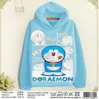 Jaket Sweater Hoodie Doraemon Biru Muda
