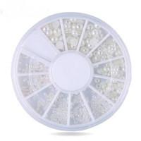 White pearl nail art / nail wheel / nail decor