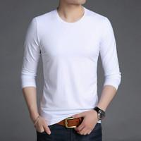kaos long tshirt korea polos warna putih artis BIGBANG