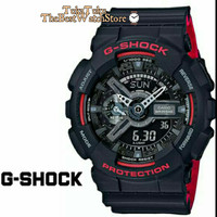 jam tangan casio g shock ga 110 black red ori bm
