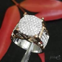 Fashion Wanita Terbaru Cincin Emas Putih Full Berlian Eropa