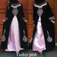 Jual abaya/gamis/dress/gaun pesta bordir turkey pink plus pashmina Murah