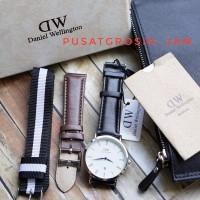 JAM TANGAN UNISEX DW 3TALI BLACK LIST SILVER jam tangan daniel welli