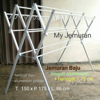 Jemuran Baju Alumunium Ringan 175cm + Hanger