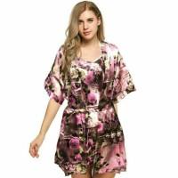 KIMONO SATIN MOTIF / baju tidur sexi / bajutidur mini sexy dress /
