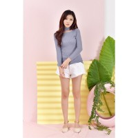 Terbaru Busana Korean Style HighNeck Knitwear Blouse Long Sleeve Azum