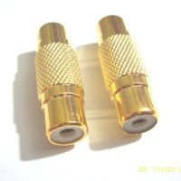 Sambungan gold RCA female ke to RCA female video barrel high quality