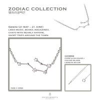 [Kalung Zodiak] (Gemini : 21 Mei - 21 Juni) Cocoa Jewelry Star Silver
