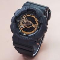 jam tangan g shock ga 110 gshock ga110 dualtime hitam black lis gold