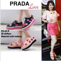 Sepatu Sneakers Prada LOVE ks A2 - 8 kulit Mateng 6cm