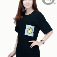 Kaos Anime One Piece TRAFALGAR LAW Hitam - Baju Tshirt Pocket Glitter