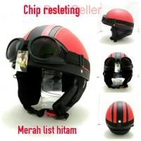 IM Helm Retro Bogo Chip Resleting Merah list Hitam kacamata