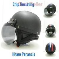 IM Helm Bogo Retro Chip Resleting Hitam Perancis + Kaca Bogo Ori