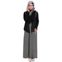baju gamis muslim wanita spandek hitam kombinasi Gareu GJT 4221 T13