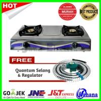 Promo Paket Kompor Gas 2Tungku Rinnai RI-522E + Selang Regulator Quant