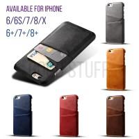Premium Card Slot Leather Case iPhone 6 6s 7 8 plus X casing hp kuli