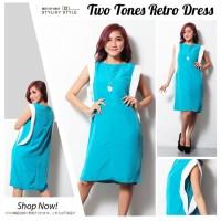 Baju Wanita Atasan Cewek Jfashion Midi Dress Kombinasi Warna Tanpa